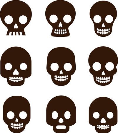 sugar skull: Black skull set, Mexican day of the dead