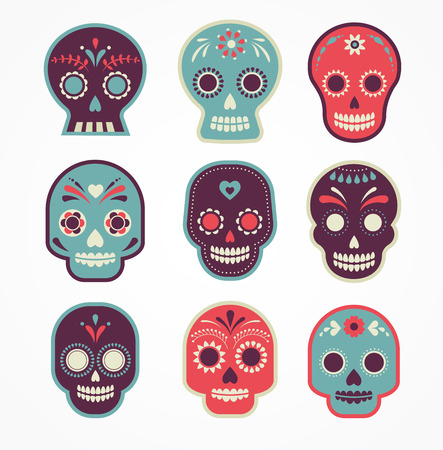 bunt gemusterten Schädel Satz, mexikanischen Tag der Toten