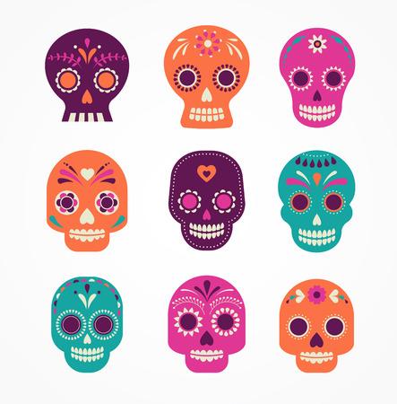 dia de muertos: colorido conjunto cráneo modelado, día mexicano de los muertos
