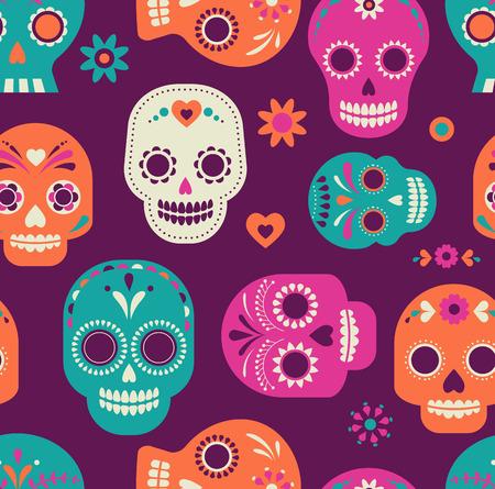 kleurrijke leuke schedel patroon, Mexicaanse dag van de doden Stock Illustratie