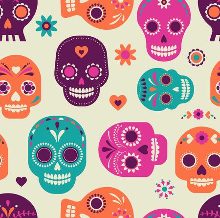 カラフルなスカルかわいいパターン、死者の日、メキシコ