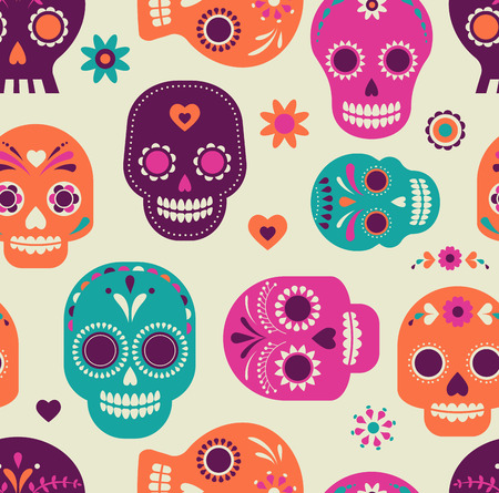 colorful skull cute pattern, Mexican day of the dead
