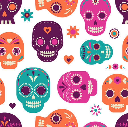 dia de muerto: modelo colorido lindo del cráneo, día de México de los muertos Vectores