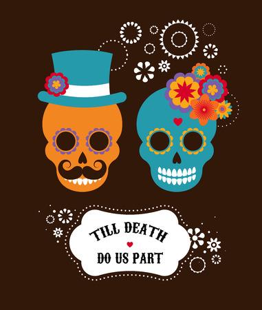calavera: Invitación de la boda mexicana con dos cráneos lindos inconformista Vectores