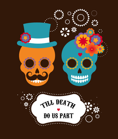 Mexican wedding invitation with two cute hipster skulls