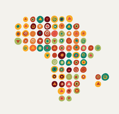south african birds: Africa - map illustration with tribal pattern Illustration