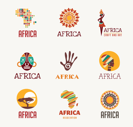 logo: Africa and Safari elements and icons Illustration
