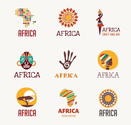 logo voyage: Éléments et les icônes Afrique et Safari Illustration
