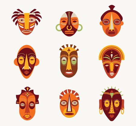 wooden mask: African masks set of icons