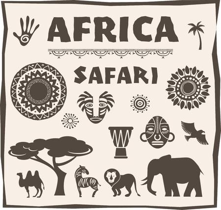 África y Safari icono, conjunto de elementos. Diseño del cartel