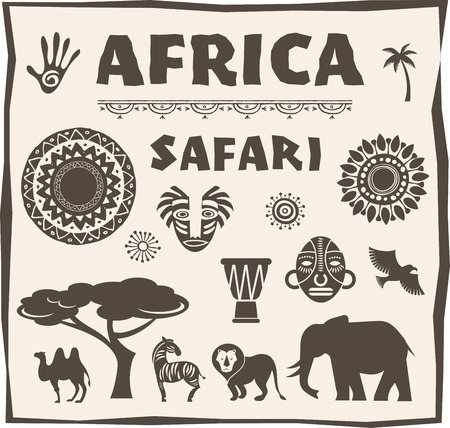 south african: Africa and Safari icon, element set. Poster design