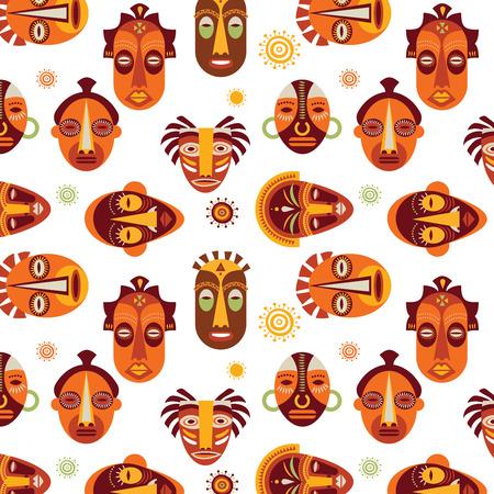 arte africano: M�scaras africanas patr�n colorido