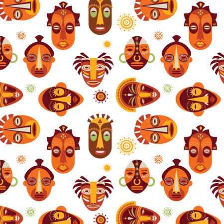 African masks colorful pattern