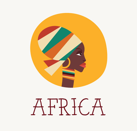 south african: African woman icon and illustration