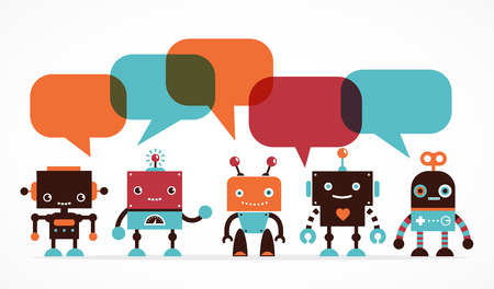 robot arm: Robot icons and cute characters, with speech bubbles
