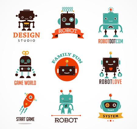 robots: Robot icons and cute characters