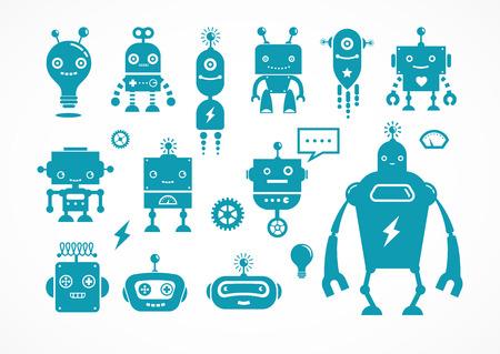 icônes de robot et des personnages mignons