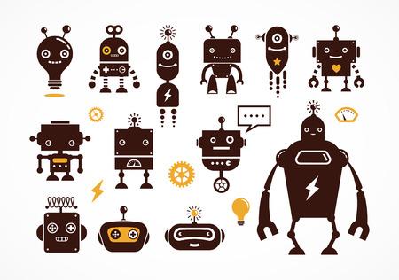 Robot pictogrammen en schattige personages