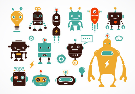 Robot icons and cute characters