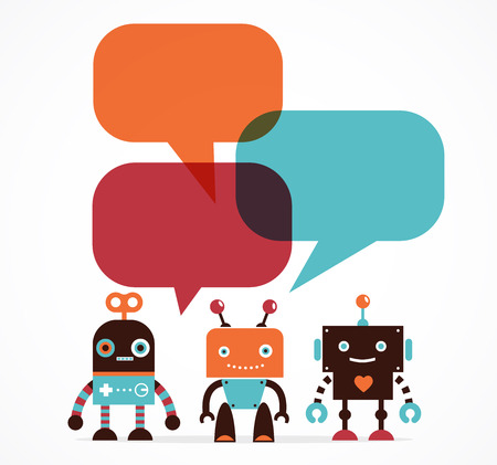 android robot: Robot icons and cute characters, with speech bubbles