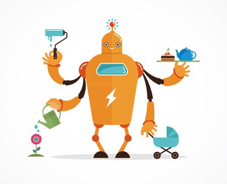 robot: Multitarea robot con el bebé, trabajando, coocking, limpieza y jardinería Vectores