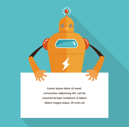 robot arm: Cute robot character with a banner for text Illustration