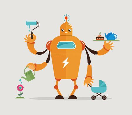madre trabajadora: Multitarea robot con el bebé, trabajando, coocking, limpieza y jardinería Vectores