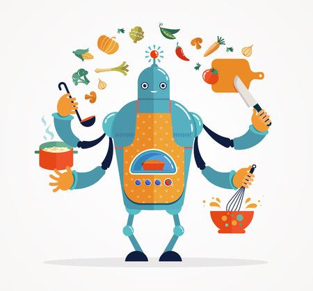 robot: Multitarea de trabajo del robot cocinero, coocking y hornear