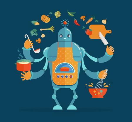 Multitarea de trabajo del robot cocinero, coocking y hornear