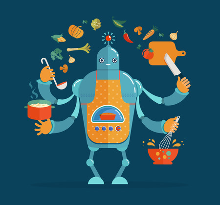 chef': Multitasking robot chef working, coocking and baking