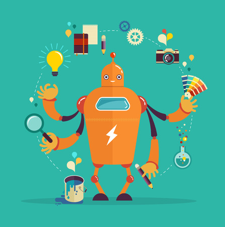 cute graphic: Cute multitasking robot - graphic design and creative thinking Illustration