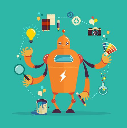 the designer: Cute multitasking robot - graphic design and creative thinking Illustration