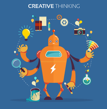 Cute multitasking robot - graphic design and creative thinking Ilustração