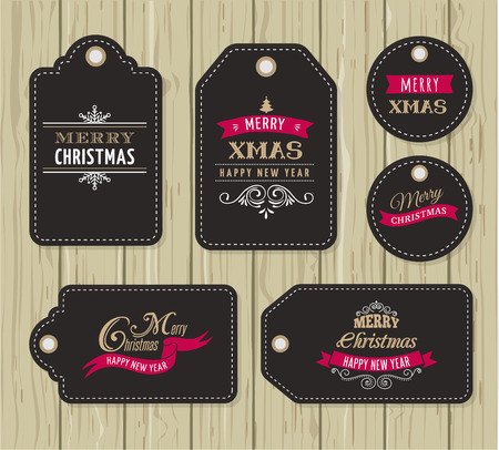 hang tag: Christmas Sale, Gift Tags and labels  with lettering, typography Illustration