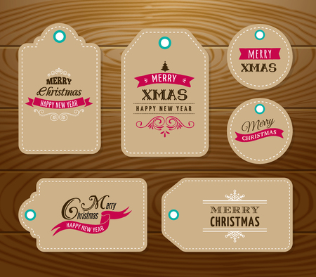 lowest: Christmas Sale, Gift Tags and labels  with lettering, typography Illustration