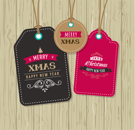 price reduction: Christmas Sale, Gift Tags and labels  with lettering, typography Illustration