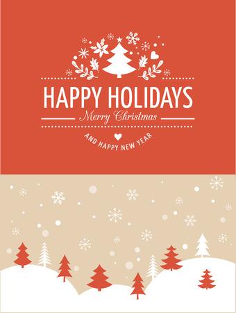 feriado: Feliz Navidad de fondo con la tipografía, letras. Tarjeta de felicitación roja Vectores