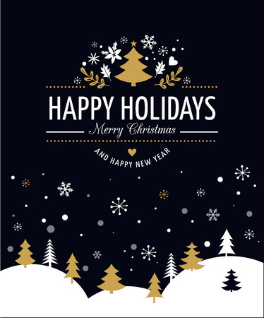Merry Christmas Background With Typography, Lettering. Black greeting card