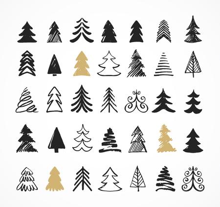 boom: Hand getrokken kerstboom iconen. Doodles en schetsen Stock Illustratie