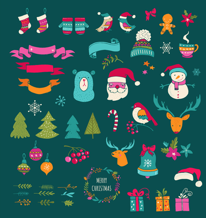 chalks: Christmas Design Elements - Doodle Christmas symbols, icons, greetings and frames on blackboard