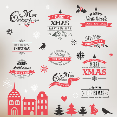 hollies: Christmas design collection, Set of lettering and typographic elements, icons, vintage labels. . Ribbons, xmas village and stickers Illustration
