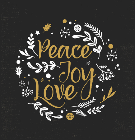 text: Merry Christmas Background with Typography, Lettering. Greeting card - Peace, Joy, Love Illustration