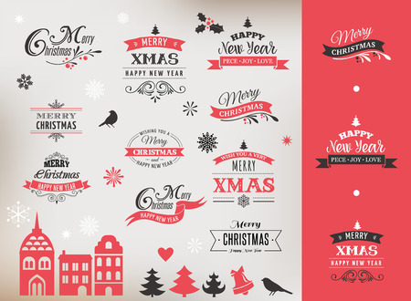 xmas card: Christmas design collection, Set of lettering and typographic elements, icons, vintage labels. . Ribbons, xmas village and stickers Illustration