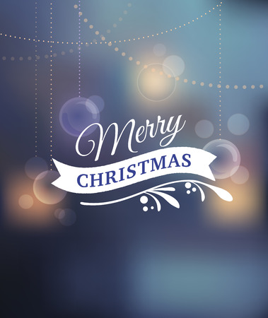 greeting christmas: Merry Christmas Background With Typography, Lettering. Light bokeh background and greeting card
