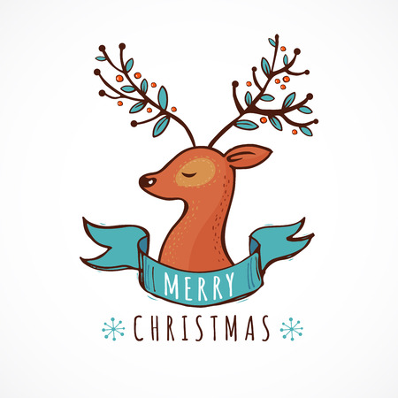 cute: Christmas background and greeting card with a cute deer illustration