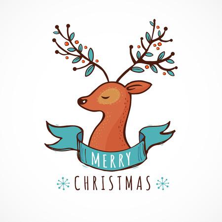 lindo: Fondo de la Navidad y tarjeta de felicitaci�n con un ejemplo lindo de los ciervos