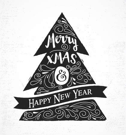 christmas vintage: Chalkboard, Vintage style, Christmas Tree with typography and lettering