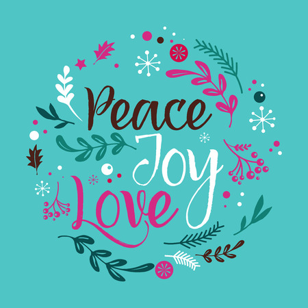 peace label: Merry Christmas Background with Typography, Lettering. Greeting card - Peace, Joy, Love Illustration