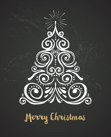 fur tree ornament: Chalkboard, Vintage style, Hand drawn Christmas Tree Illustration