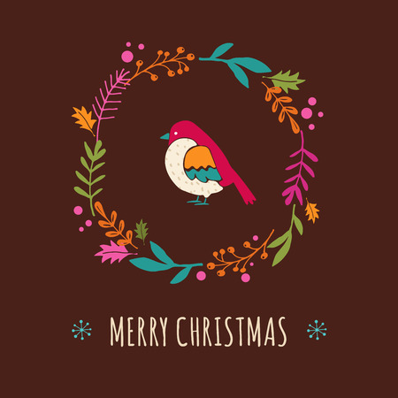 cute christmas: Christmas colorful wreath with bird, cute hand drawn greeting card Illustration